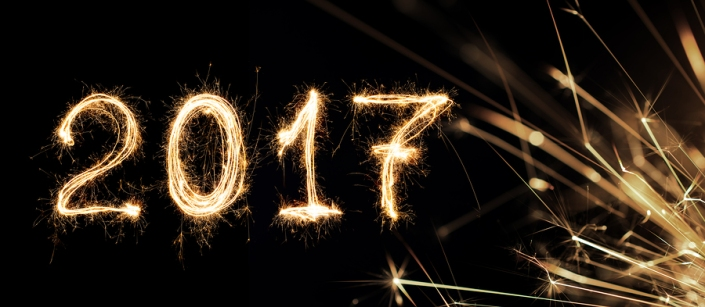 2017 written with Sparkle firework 2017 Happy New Year background concept.